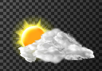 Sun light cloud cover weather meteo icon realistic vector illustration. Realistic elements for weather forecast, sun and white cloud, isolated on transparent background Wall mural