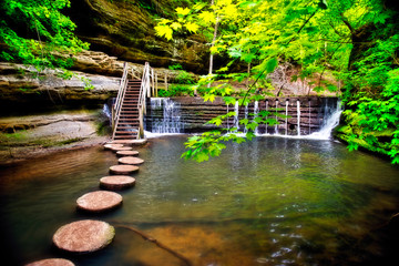 Stepping Stones in Stream to Steps and Waterfall