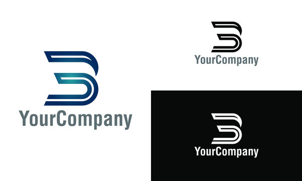 Corporate letter B, 3 and 3B logo design template. Simple and clean flat design of letter B, 3 and 3B logo vector template.