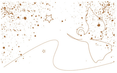 Christmas background gold design with angel and stars, vector illustration