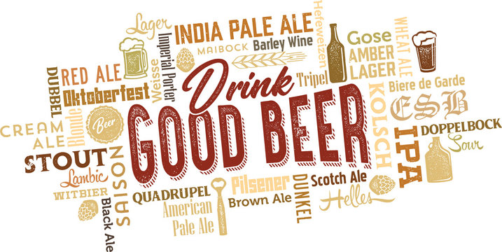 Vintage Beer Icons and Word Cloud for Breweries and Bars