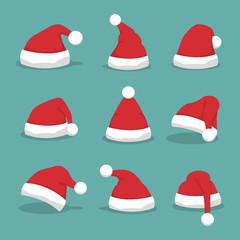 Santa hat set with shadow in a flat design