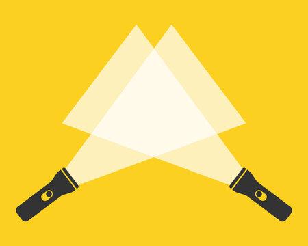 Cartoon flat style led flashlight torch icon shape. Search pocket lamp symbol logo. Vector illustration image. Isolated on white background.