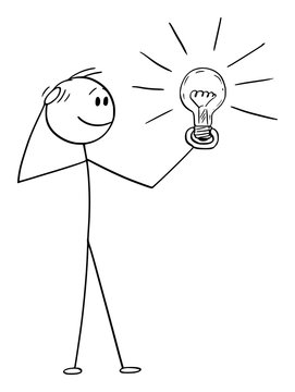 Vector cartoon stick figure drawing conceptual illustration of thinking man or businessman watching shining light bulb in his hand. Creativity concept.