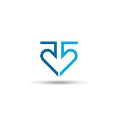 Heart number 55 logo design,down arrow vector icon. , line concept,