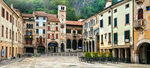 Fototapete - Traditional medieval villages (towns) of northern Italy - Vittorio Veneto. Veneto province