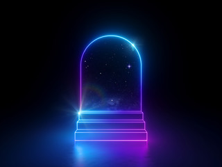 3d abstract neon background, night starry sky dreaming metaphor, round arch window and steps, virtual universe, blank frame, ultraviolet spectrum, glowing pink blue light, cosmic space