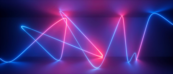 3d abstract neon background, chaotic wavy line, trajectory path glowing in ultraviolet light, violet blue red laser rays Fotomurales