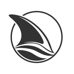 Shark or Dolphin fin is visible above the wave, flat design.