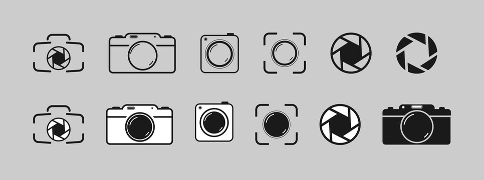 Set of camera, camera and aperture icons, simple flat design