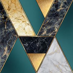 Photo sur Toile Géométriquement abstract art deco background, geometric pattern, creative texture of marble, modern mosaic inlay, green and gold, artificial painted stone, marbled tile surface, minimal fashion marbling illustration