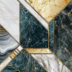Photo sur Toile Géométriquement abstract art deco minimalist background, modern mosaic inlay, texture of marble agate and gold, artistic painted marbling, artificial stone, marbled tile surface, minimal fashion marbling illustration
