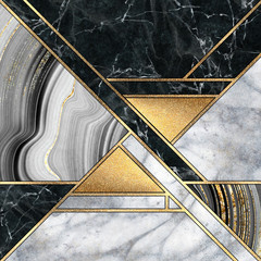 Ingelijste posters Geometrisch abstract minimal geometric background, luxury art deco design, mosaic inlay, modern creative textures of marble granite agate and gold, artificial stone, marbled tile, fashion marbling illustration