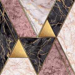Ingelijste posters Geometrisch abstract art deco geometric background, modern minimalist mosaic inlay, textures of pink marble granite gold, artistic painted marbling, artificial stone, marbled tile, fashion marbling illustration