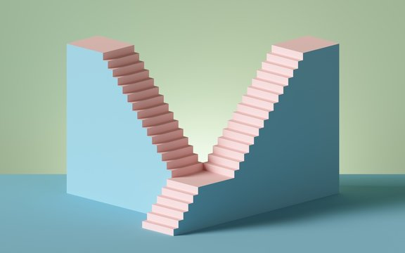 3d render, stairs and steps, abstract background in pastel colors, fashion podium, minimal scene, architectural design elements