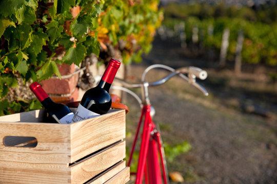 Vieux vélo rouge dans les vignes en France. Bouteille et caisse de vin français