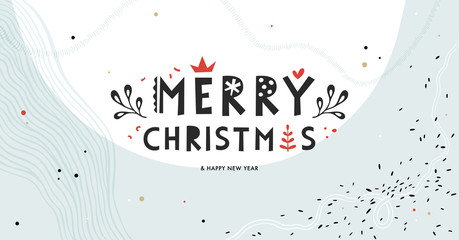 Wall Mural - Winter Holidays banner design. Website or social media long header template for Christmas celebration with space for text.
