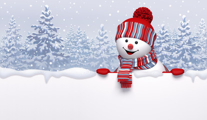 Christmas background with 3d cute happy snowman wearing knitted cap and scarf, holding blank banner. Cartoon character, funny childish toy. Winter landscape with snowy forest.