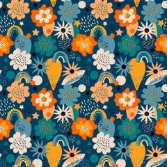 Cute childish seamless pattern. Kawaii abstract seamless texture