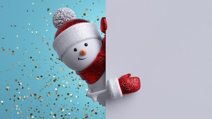 Christmas greeting card mockup. 3d snowman holding blank banner, looking at camera. Winter holiday background with gold confetti. Happy New Year. Funny festive character.