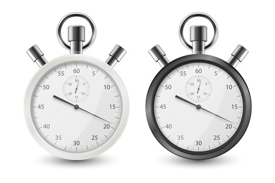 Realistic White and Black Classic Stopwatch Icon Set Closeup Isolated on White Background. Stop-watch Design Template. Sport Timer on Competitions. Start, finish, Time Management. Stock Vector