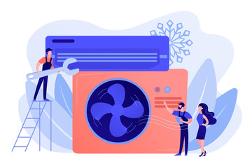 Electrician service. Air conditioning and refrigeration services, installation and repair of air conditioners, hire best technicians concept. Pinkish coral bluevector isolated illustration Fotobehang