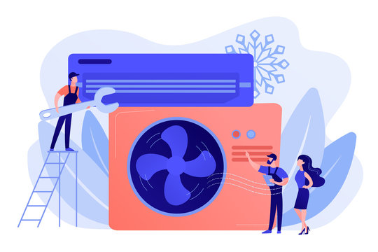 Electrician service. Air conditioning and refrigeration services, installation and repair of air conditioners, hire best technicians concept. Pinkish coral bluevector isolated illustration