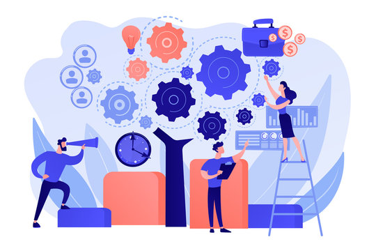 Business operation planning. Software technology integration. Enterprise architecture, IT standard for your business, business it management concept. Pink coral blue vector isolated illustration
