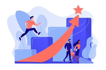Successful businessman running up the career stairs and rising arrow to a star. Career growth, careerbuilder, career development concept. Pinkish coral bluevector isolated illustration