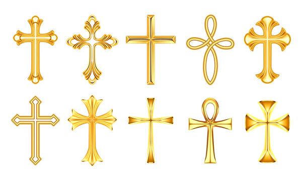 Set of isolated christian cross or religion sign