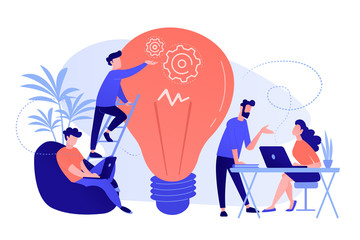 People working in friendly open space workplace. Coworking, freelance, teamwork, communication, interaction, idea, independent activity concept, pinkish coral blue palette. Vector illustration on Fotoväggar