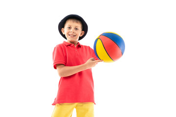 Caucasian teenager boy play basketball, picture isolated on white background