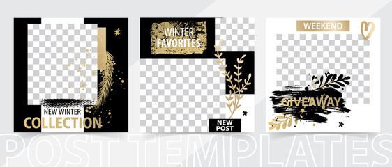 Trendy editable square template for social networks posts, vector illustration.