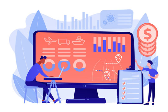 Logistics industry and freight profit analyzing. Supply chain analytics, transportation providers data, transportation costs optimization concept. Pinkish coral bluevector isolated illustration