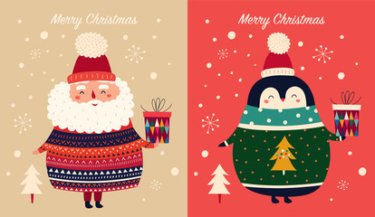 Fotomurales -  Vector Christmas cartoon illustration of cute penguins with sweater and Santa Claus