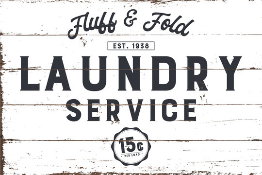 Laundry Service Sign with Shiplap Design