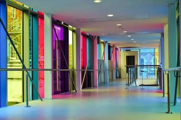 Fototapeta Beautiful shot of a modern building with colorful glass windows obraz