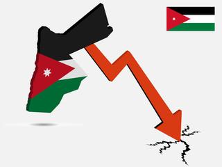 Jordan economic crisis concept Vector illustration