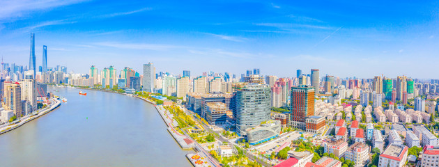 Panoramic aerial photographs of the city on the banks of the Huangpu River in Shanghai, China