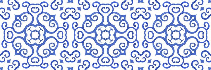 Antique portuguese tiles. Blue Azulejos ceramic. Spanish pottery..Sicily italian majolica. Vintage ethnic background . Mediterranean watercolor seamless wallpaper. Moroccan ornaments in indigo color