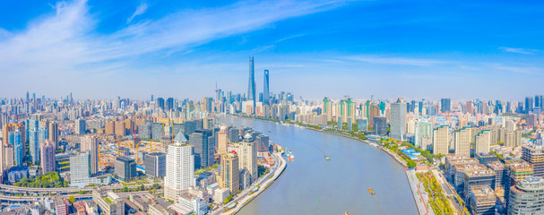 Fototapeten Shanghai Panoramic aerial photographs of the city on the banks of the Huangpu River in Shanghai, China