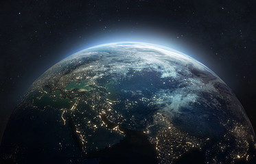 Fotobehang Nasa Nightly planet Earth in dark outer space. Civilization. Elements of this image furnished by NASA