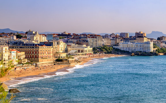 Biarritz, the famous resort in France. Panoramic view of the city and the beaches. Golden Hour. Holidays in France.