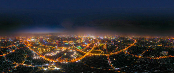Panoramic aerial photography of the night view of Shanghai, China