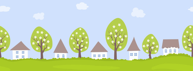 Spring village. Country landscape. Seamless border. There are houses and blooming trees against the sky with clouds. Vector flat illustration.