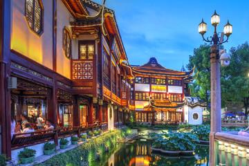 Night scene in Yu Gardens and Bazaar, Shanghai, China on August 4, 2019