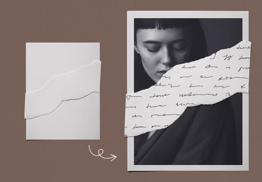 Layered Paper Photo Collage Mockup