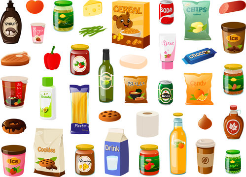Vector illustration of various everyday pantry grocery shopping food items