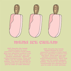 Template for a menu of ice cream in the cafe. Vector illustration of pink ice cream on a stick on an isolated background. Place to write the composition of the product, its cost and name. 02_0