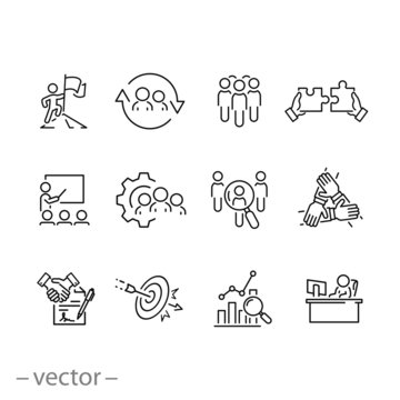 outline business career people icon set, job human, work professional employee, team search, candidate person, thin line web symbols on white background - editable stroke vector illustration eps 10